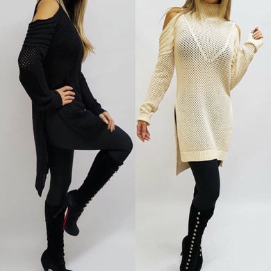 Spicy Sugar - Cold Shoulder Open Weave High Neck Jumper - Dilux Designs