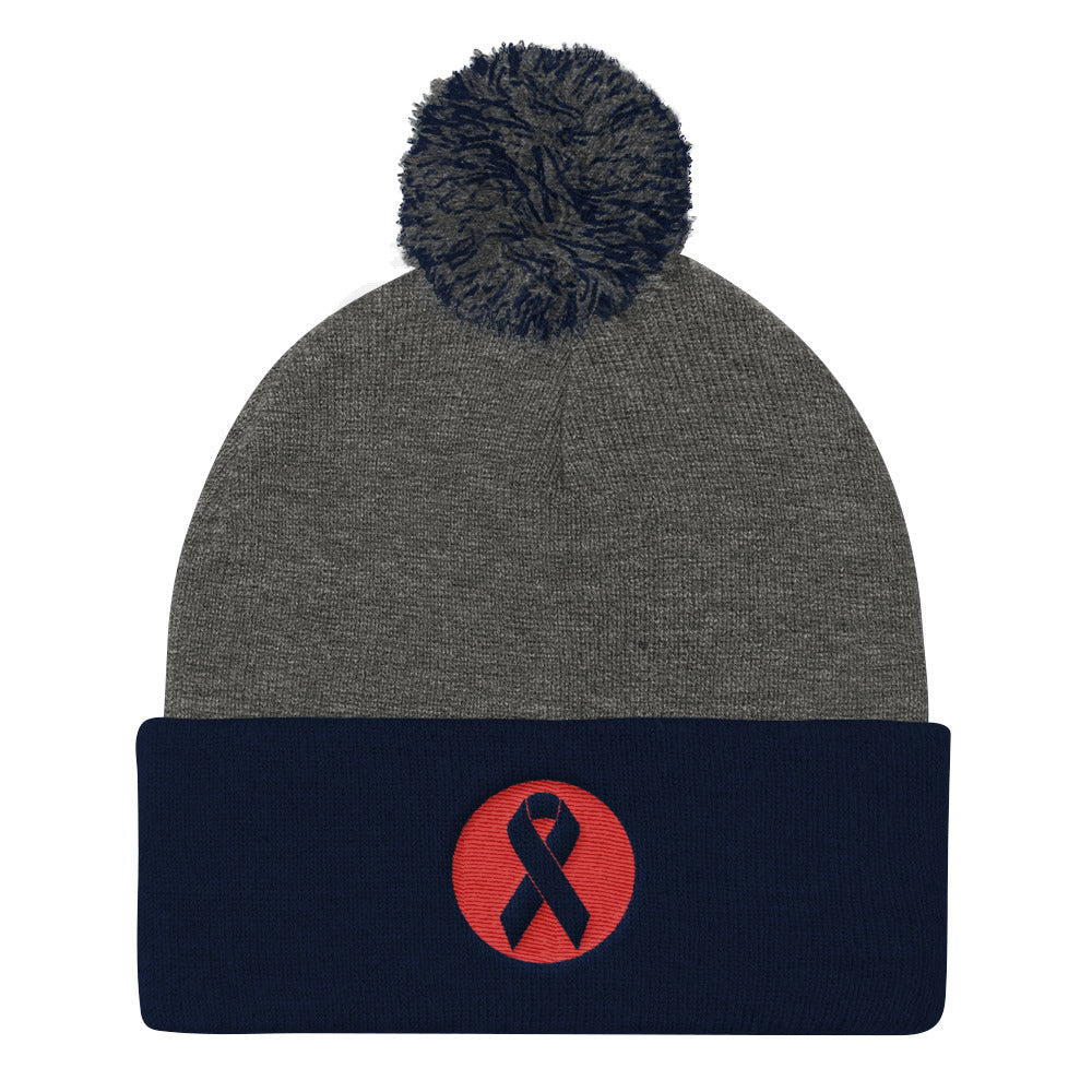 Beat Cancer Logo Pom Pom Knit Cap