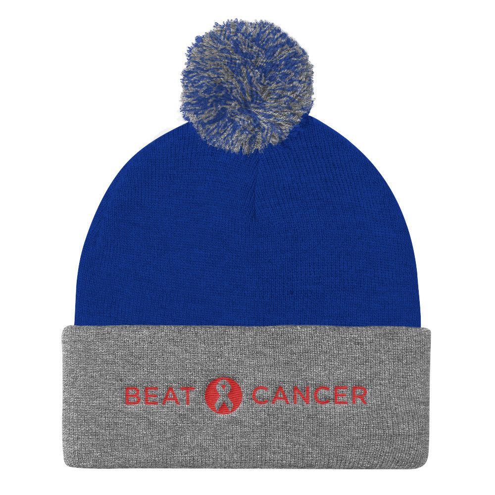 Beat Cancer Pom Pom Knit Cap