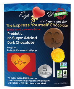 Sugar Free Probiotics Dark Chocolate - Emoji Kiss (12 packs)