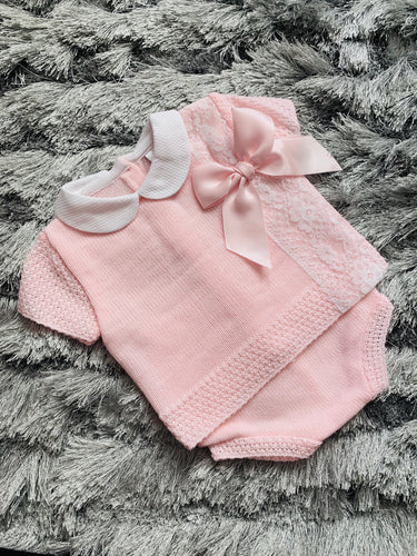 Pink Laced Bow Knit