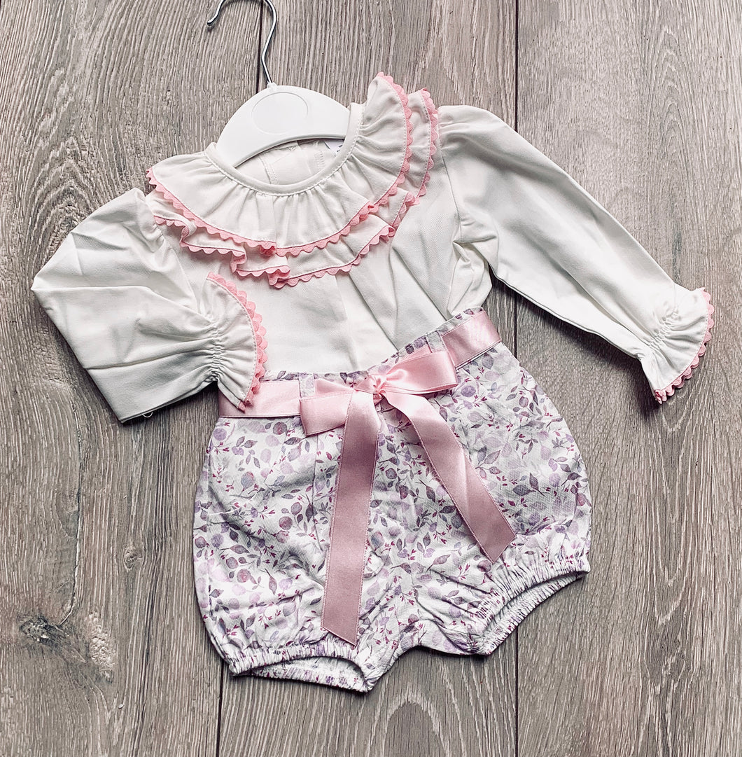 Floral Shorts and Blouse Set