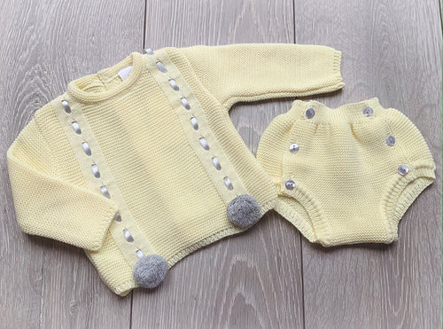 Lemon and Grey Pom Set