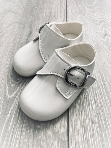 White Patent Buckle Shoe