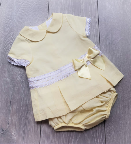 Luxury Lemon Bow Dress and Pants Set