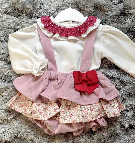 Light Pink Floral Spanish Dress and Blouse Set