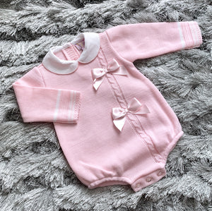 Pink Knitted Double Bow Romper