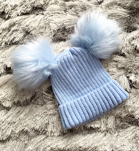 Double Faux Fur Pom Hat- Blue  0-12 Months