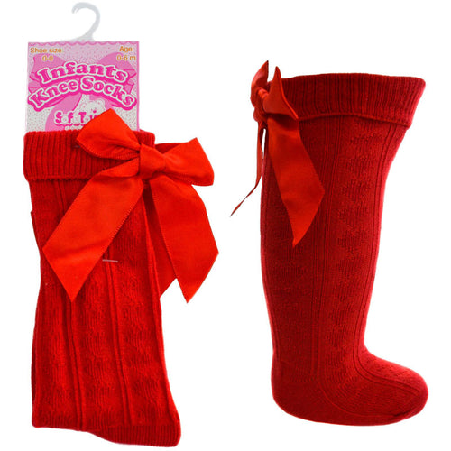 Red Knee High Ribbon Socks