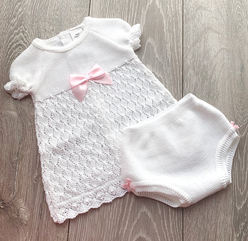 White and Pink Bow Two Piece Dress Set