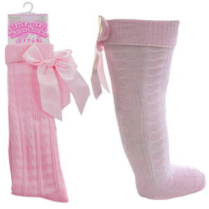 Pink Knee High Ribbon Socks