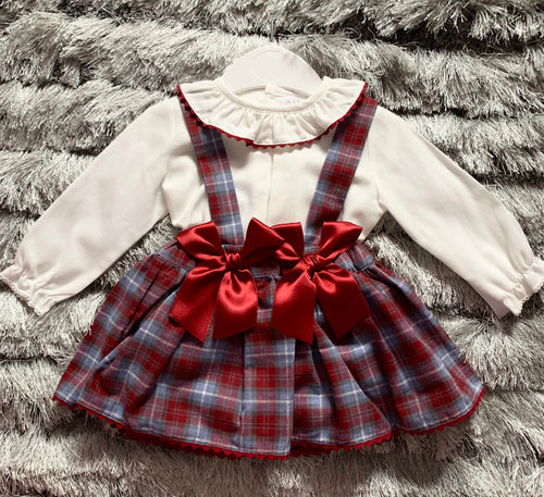 Luxury Red Tartan Double Bow Dress and Blouse Set
