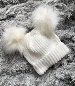 Double Faux Fur Pom Hat- Ivory. 0-12 Months