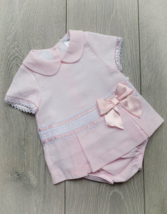 Luxury Pink Bow Dress and Pants Set