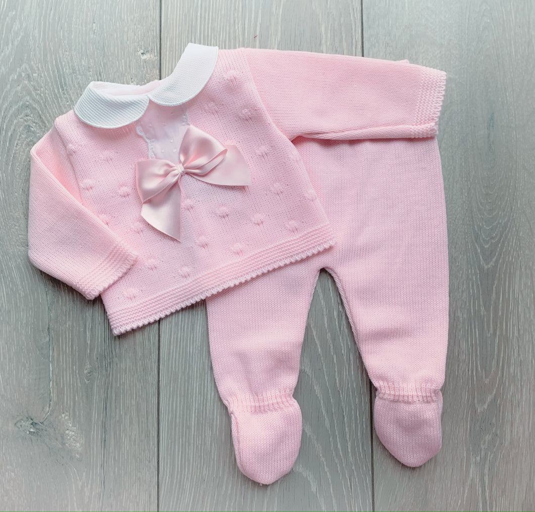 Pink Bow Knitted Two Piece