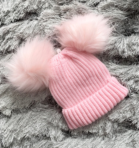 Double Faux Fur Pom Hat- Pink. 0-12 Months