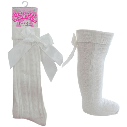 Cream Knee High Ribbon Socks