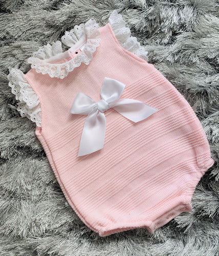Pink Frilled Bow Romper