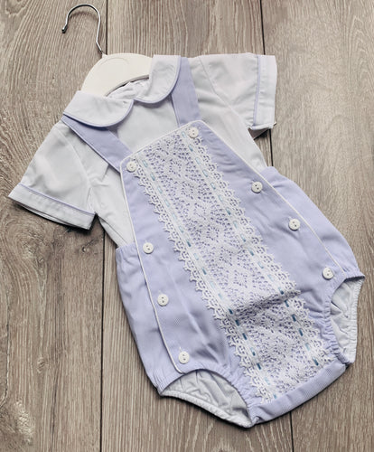 Detailed Romper and Shirt Set