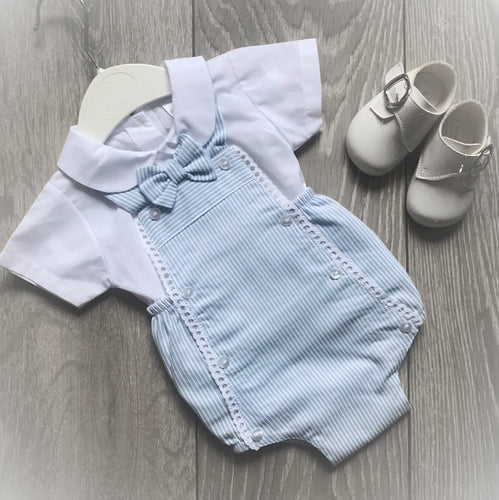 Bow Striped Romper and Shirt Set