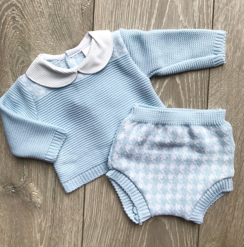 Blue and White Peter Pan Collar Jam Pants Set