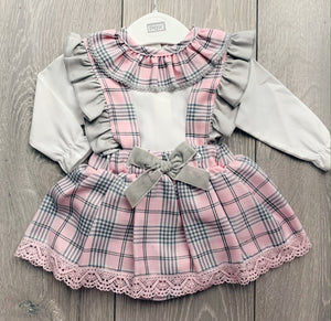 Pink and Grey Checkered Skirt Dungaree Set