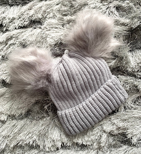 Double Faux Fur Pom Hat- Grey. 0-12 Months