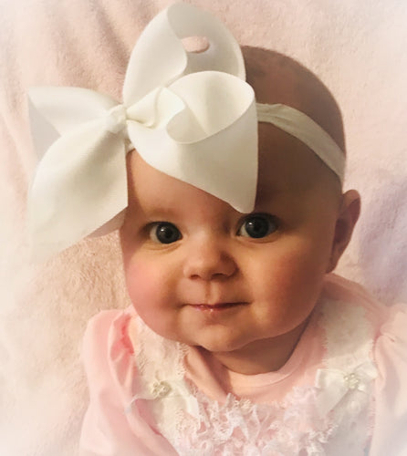 Large White Bow Headband