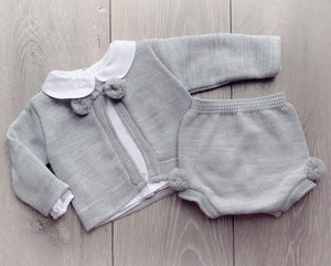 Grey Pom Three Piece Set