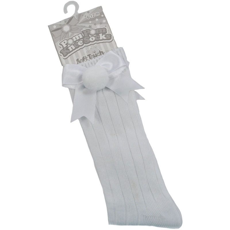 White Knee High Bow Pom Socks