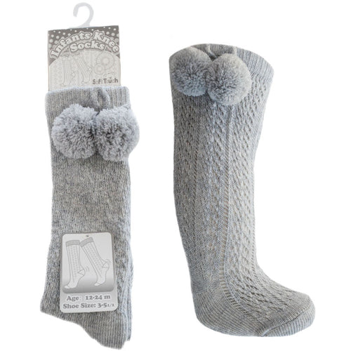 Grey Knee High Pom Socks