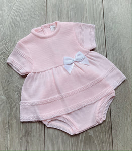 Pink Bow Dress and Pants Set