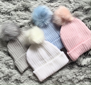 Single Pom Faux Fur Hat
