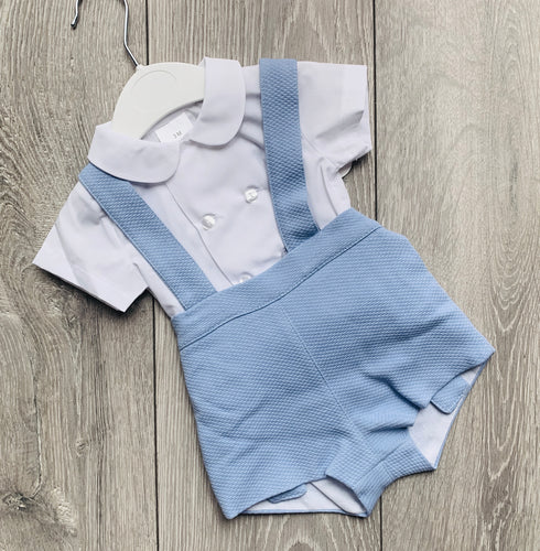 Blue Dungaree and Shirt Set