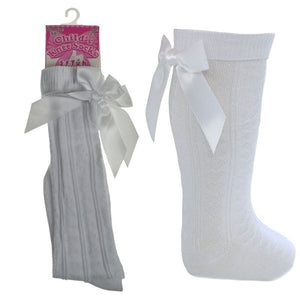 White Knee High Ribbon Socks