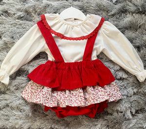 Luxury Red Spanish Dress and Blouse Set