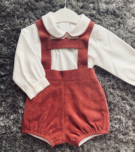 Burgandy Soft Cord H-Bar Romper and Shirt Set