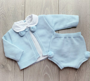 Blue Pom Three Piece Set