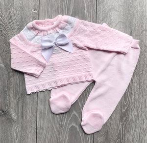 Pink Two Piece Bow Knit
