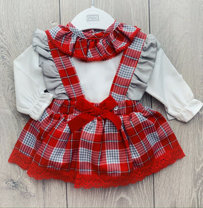 Red and Grey Checkered Skirt Dungaree Set