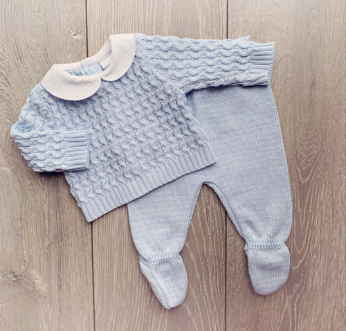 Blue Textured Two Piece Knit