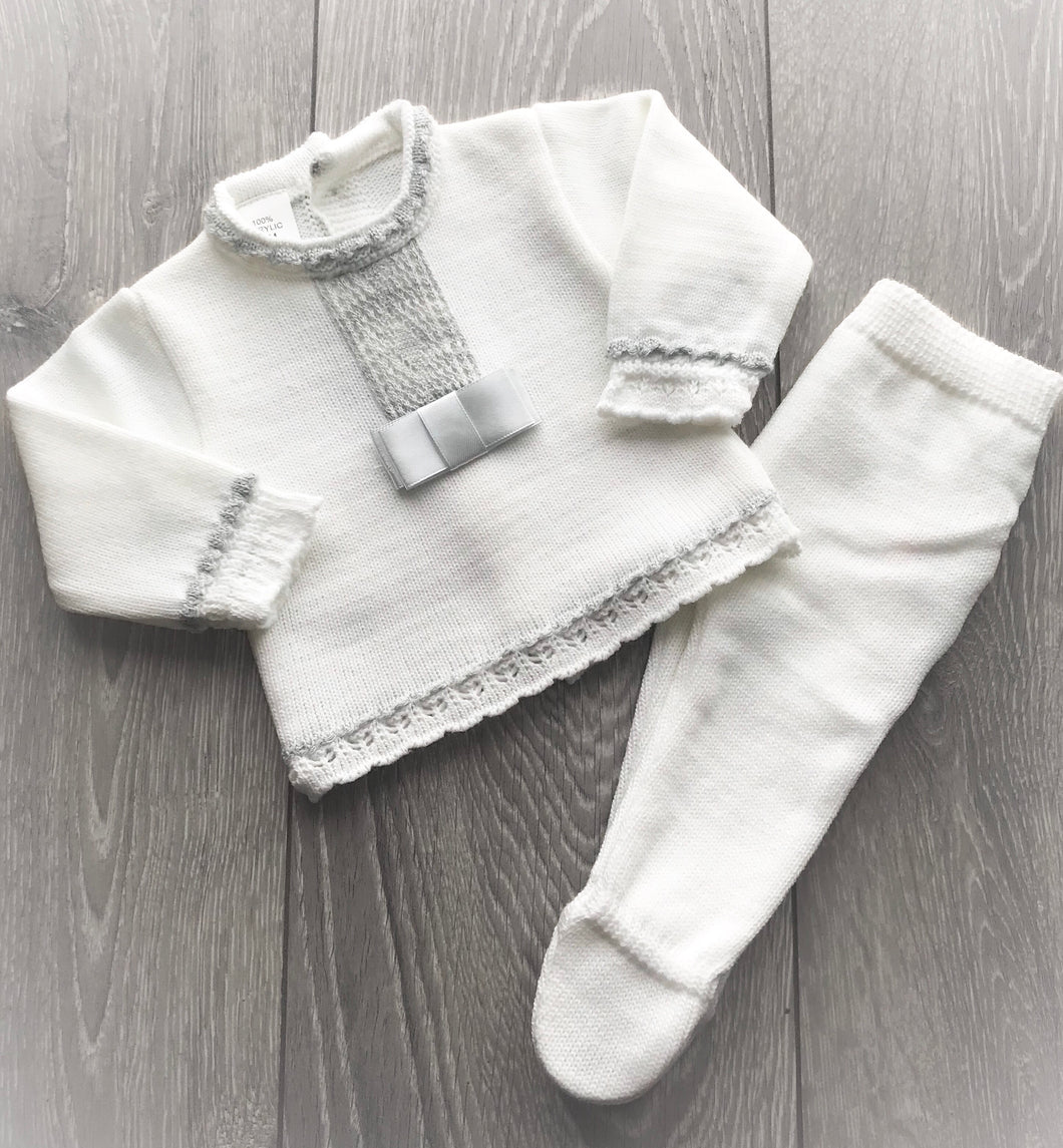 White and Grey Two Piece Knit