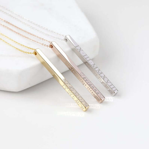 Personalized Vertical Bar Necklace