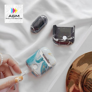 Earphone Case For Airpods 2 Case Luxury Marble Hard Headphone Case Protective Cover Accessories - A&M Executive Services LLC