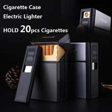 Load image into Gallery viewer, FOCUS Cigarette Case Box Lighter with Flameless Removable Electronic Lighter Windproof Torch Lighter 20pcs Cigarette Holder Case - A&M Executive Services LLC