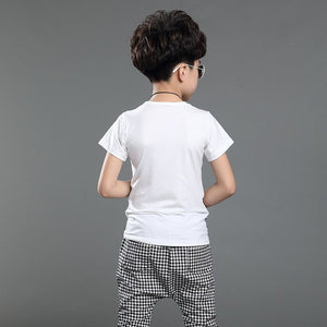 Kids Boys Summer New False Three Casual Summer Children Two Sets of Sportswear Short Sleeve T Shirt +pant - A&M Executive Services LLC