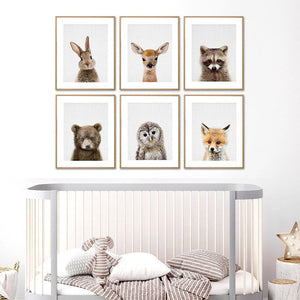 Canvas Painting Poster Rabbit Dog Deer Bear Fox Owl Prints Nursery Picture Animal Wall Art Peekaboo Kids Room Decor - A&M Executive Services LLC