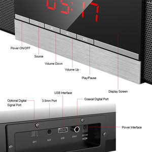 SR100 Plus Bluetooth Soundbar Home TV Speaker Wireless Subwoofer Remote Control Stereo Surround Sound 4*15W Speakers - A&M Executive Services LLC