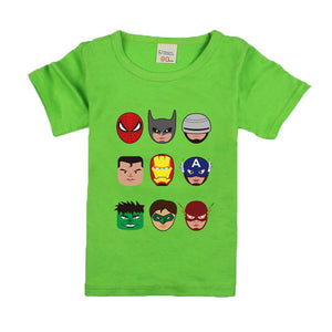 Kids Boys T Shirts Marvel Iron Man Spiderman Batman Superhero Print Children Summer Cotton Shorts Baby Boys Girls tops T shirt - A&M Executive Services LLC