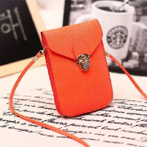 Fluorescence Colors Women Mobile Phone Bags Fashion Small Change Purse Female Woven Buckle Shoulder Bags Mini Messenger Bag - A&M Executive Services LLC
